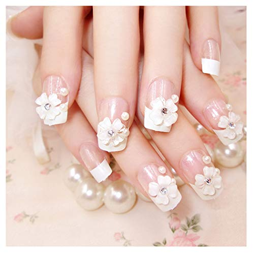 Barode False Nails Bling Rhinestone Pearl Flower Full Cover Acrylic French Fake Nails Wedding Birthday Party Clip on Nails for Women and Girls