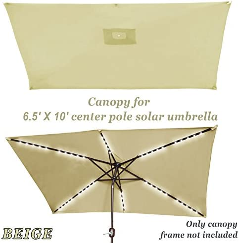 Strong Camel Replacement Umbrella Canopy for 10ft x 6.5 ft 6 ribs Patio Umbrella Top Cover Outdoor Market Canopy Only Beige