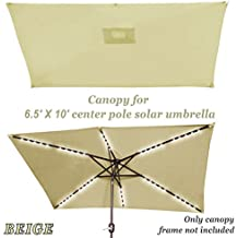 Strong Camel Replacement Umbrella Canopy for 10ft x 6.5 ft 6 ribs Patio Umbrella Top Cover Outdoor Market (Canopy Only) (Beige)