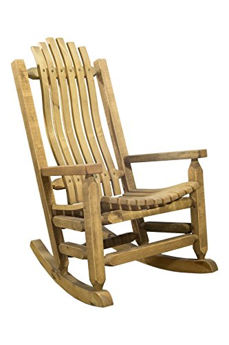Montana Woodworks Homestead Collection Adult Wood Log Rocker, Exterior Stain Finish For Sale