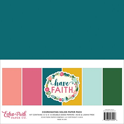 Echo Park Paper Company HAF152015 Have Faith Solids Kit Purple, Pink, Mint Green, Teal, Coral