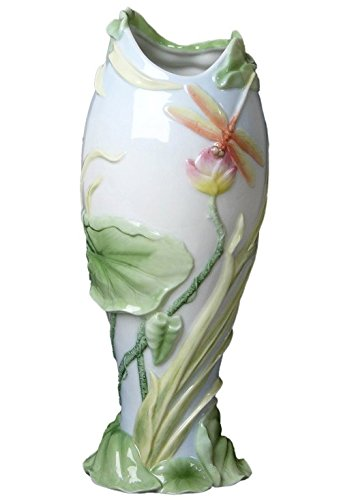 XoticBrands Decorative 11.61 Inch Dragonfly On Lotus Vase-Animal, ((H) 11 5/8 - Dragonfly Porcelain Vases