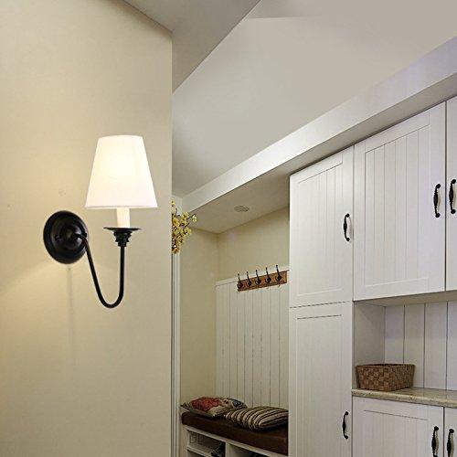 JINSHUL Moderne minimalistische Restaurant schmiedeeiserne Wandleuchte kreative Café Restaurant Stoff Wand Lampe Persönlichkeit Wohnzimmer dekorative Wandleuchte (Größe   A)