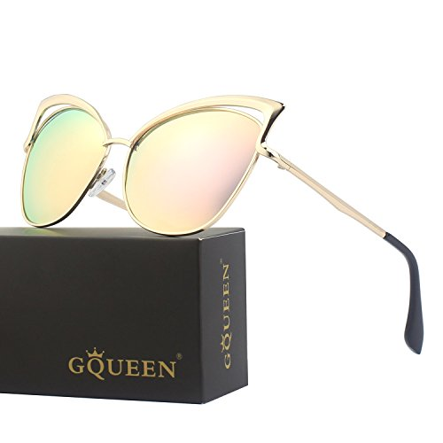 GQUEEN Women's Oversized Polarized Metal Frame Mirrored Cat Eye Sunglasses - Gold Eye Cat Sunglasses