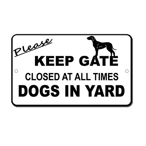 (BIN SHANG Rustic Metal Sign Post Please Keep Gate Closed Dogs in Yard Aluminum Wall Art Plaque Decoration)