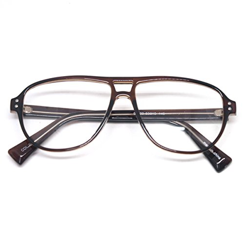 Vintage Inspired Eyewear Geek Clear Lens Horn Rimmed Fashion Nerd Eyeglasses (BROWN #E6003, clear)