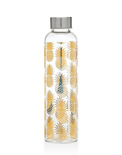 Godinger Borosilicate Glass Pineapple Bottle - for Water, Beverage, Juice | 20 Oz. | Stainless-Steel Leak-Proof Cap | BPA Free