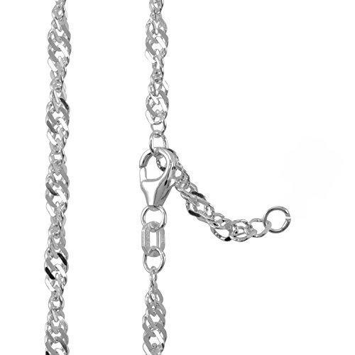 Fu/ßkette Silber 925 Singapurkette Fu/ßkettchen L/änge 23-25cm Breite 2,40mm 8549401
