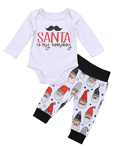 Santa is My Homeboy Newborn Baby Pajamas Long Sleeve Tops Xmas Beard Romper Santa Pants Coming Home Outfit (White, 6-12 Months)