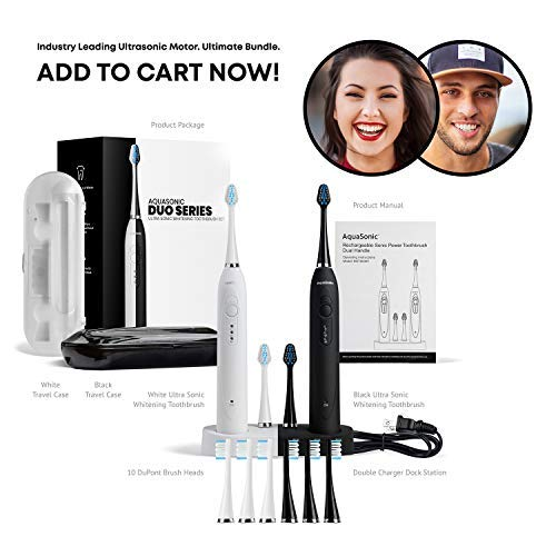 AquaSonic DUO Dual Handle Ultra Whitening 40,000 VPM Wireless Charging Electric ToothBrushes - 3 Modes with Smart Timers - 10 DuPont Brush Heads & 2 Travel Cases Included