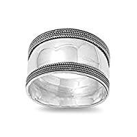 Sterling Silver Women's Bali Ring Wide 925 Band Rope Milgrain Look Sizes 5-12
