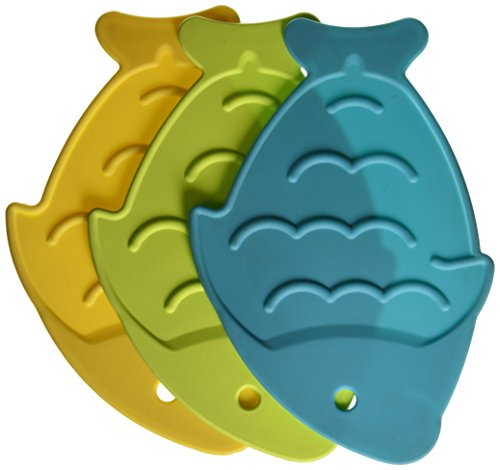 Star Kitchen & Home Caribbean Splash Fish-Shaped Trivets, Set of 3