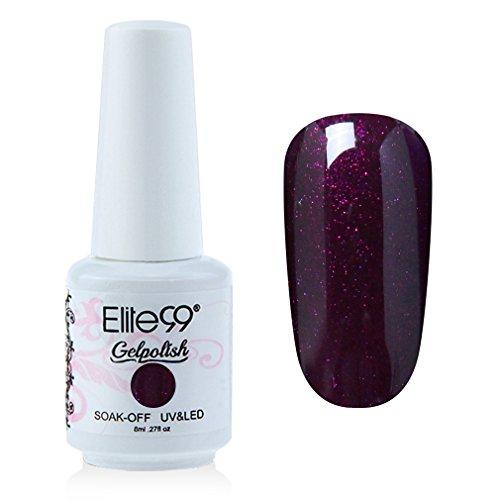 Elite99 Gelpolish Soak-off Gel Nail Polish UV LED Nail Art Pearl Dark Purple 8ml 1339