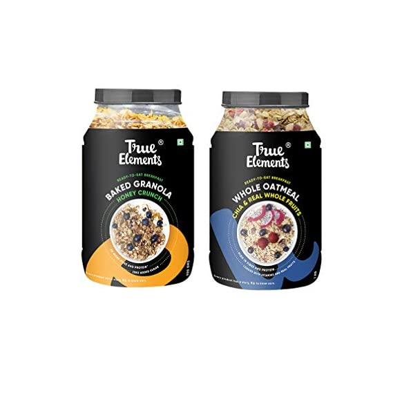 True Elements Cereals for Breakfast- Crunchy Baked Granola 750g + Whole Oatmeal with Chia & Real Fruits 1kg