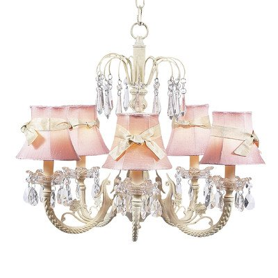 - Jubilee Collection 7041-2412-301 5 Arm Water Fall Ivory Chandelier with Plain Pink Shade and Sash