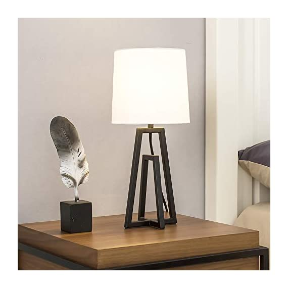 """POPILION Cozy Minimalist White TC Fabric Lamp Shades Bedroom Living Room Table Lamp, Simple Modern Bedside Desk Lamp with Hollowed Black Metal Base - 1.The size of the lamp:(Diameter7.09""""*Hight15.35"""").Using E26 bulb.The bulb is not included. 2.Modern and minimalist design black steel base can elevate the aesthetics of your home.When you light the lamp up,the white TC fabric lampshade can reduce the hard light and protect your eyes.It means that it provides a soft light for sleeping and creats a cozy feeling for home. 3.Safety Choice:This minimalist style lamp is easy to install and has passed authentication of UL safety system of European Union.You don't have to worry about the quality and the safety problem. - lamps, bedroom-decor, bedroom - 41DrvfhfEzL. SS570  -"""