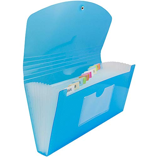 JAM Paper Accordion Folders - 13-Pocket Plastic Expanding File with Button & String Closure - Check Size - 5