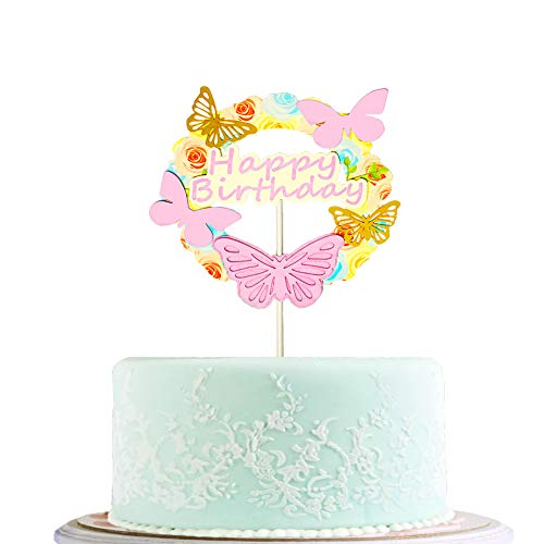 BLINGBLING Happy Birthday Cake Topper Pink with Gold Butterfly - Fashion Cake Cupcake Topper for Baby Neutral Kids Adult Elder- Birthday Party Baby Shower Decorations Party Supplies ()