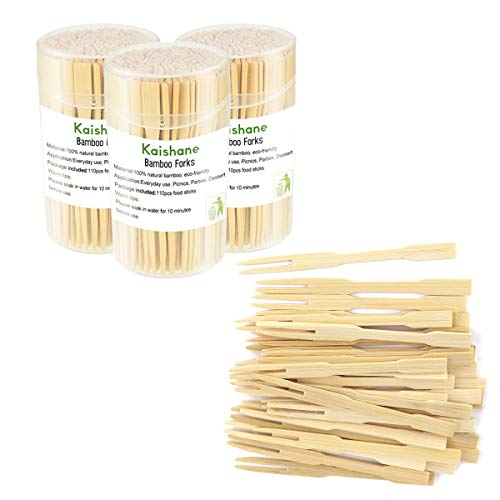 KAISHANE 330 Pieces Bamboo Forks 3.5 Inch,Disposable Cutlery Forks Two Prongs Fruit Cocktail Forks Toothpicks Mini Food Picks for Party, Banquet, and Daily Life