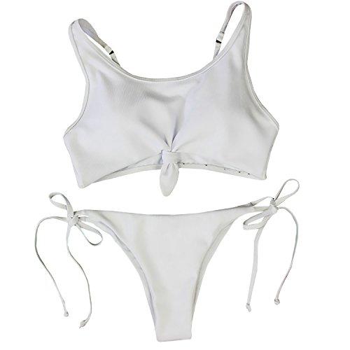 Dellytop Women Sexy Push Up Padded Knot Bikini Top Swimsuit Two Piece Bathing Suit Swimwear,White,Large