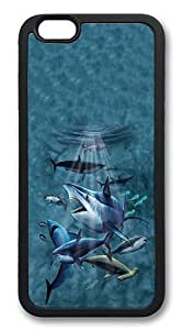 iPhone 6 Case, Soft Flexible TPU Bumper Protective Case Black Skin Scratch-Proof Case for iPhone 6 (4.7 inch) - Sharks Pattern