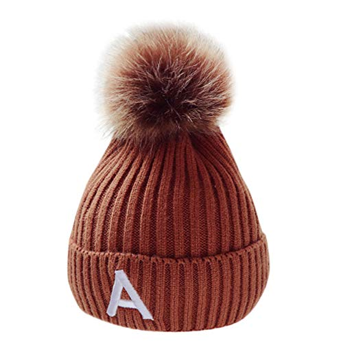 (Infant Baby Hat Cap, Sacow Kids Cute Ball Knitted Crochet Beanie Winter Warm Hat Cap(3M-5T) (Brown))