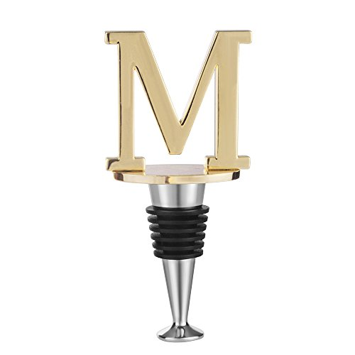 (Douzi Monogram Wine Bottle Stopper, Gold Finish, Letter M Initial (M))