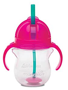 Munchkin Click Lock Weighted Flexi Straw Trainer Cup, Pink, 7 Ounce