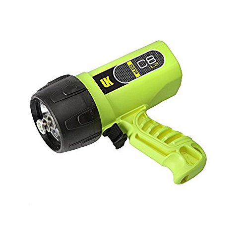 Yellow Underwater Flashlight Kinetics - Underwater Kinetics C8 eLED (L2) Dive Light,  Safety Yellow