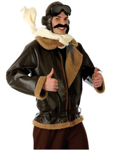 Biggles Costume (Fun Shack Adult Biggles WW2 Wartime Fighter Pilot Costume - LARGE by Fun Shack)