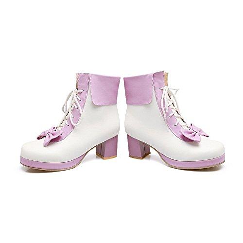 AllhqFashion Damen Schnüren Rund Zehe Mittler Absatz PU Gemischte Farbe Stiefel, Pink, 34