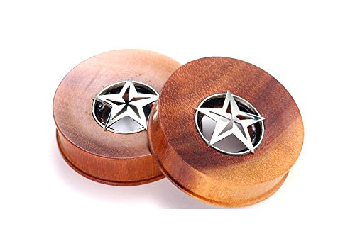 SABA Wood Plug Tunnel with Steriling Silver Star - Organic Body Jewelry 12mm up to 40mm - Price Per 1-14mm ~ 9/16