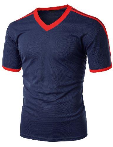 (Xpril Men's Coolmax Fabric Shoulder point 2 tone V neck Short Sleeve T shirt NAVYRED XL)