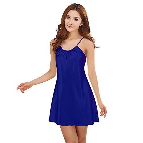 Free Fisher Mujer Lencería Satén Lisa Ropa Interior Camisón Pijama Ropa de Dormir de Aspecto Brillante Azul