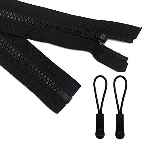 2pcs 26inch Separating Bottom Zipper #5 Black Plastic Jacket Zippers with Zipper Pulls for Coats, Bags, Jackets, and Other Sewing Crafts (26 inch) ()