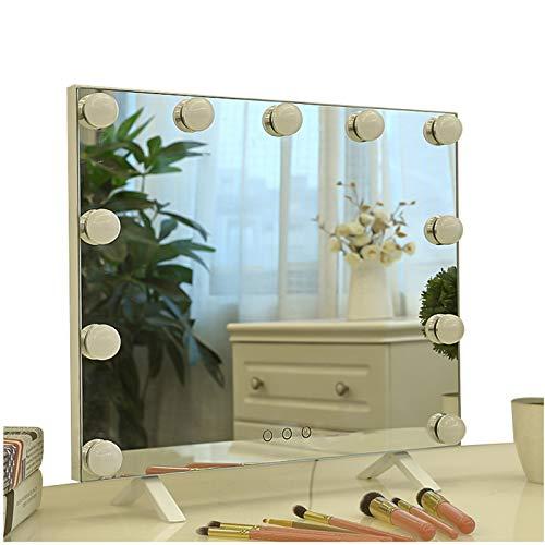 Espejo grande de maquillaje Hollywood con espejo retrovisor de cambiador, espejo retrovisor iluminado para baño, regulador...