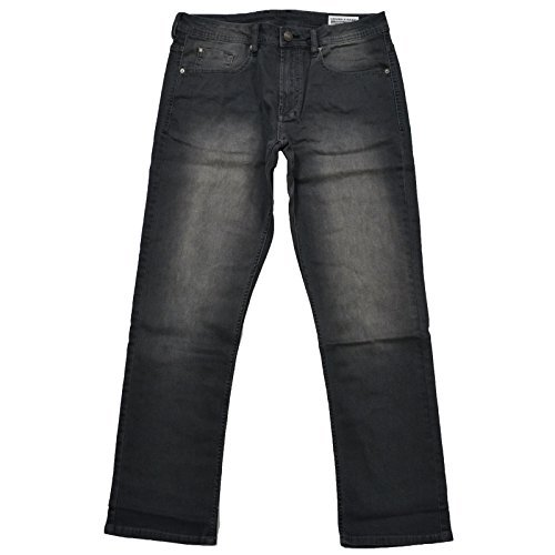 Buffalo David Bitton Mens Driven-X Basic Straight Stretch Jeans With Black Patch (32x30, (Faded Black Jeans)