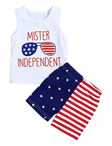 Baby Boy 4th of July Outfits,Summer Sleeveless T-Shirt Vest+US Flag Shorts Pants Clothes Set Independence Day (White#2, 0-6 Months)