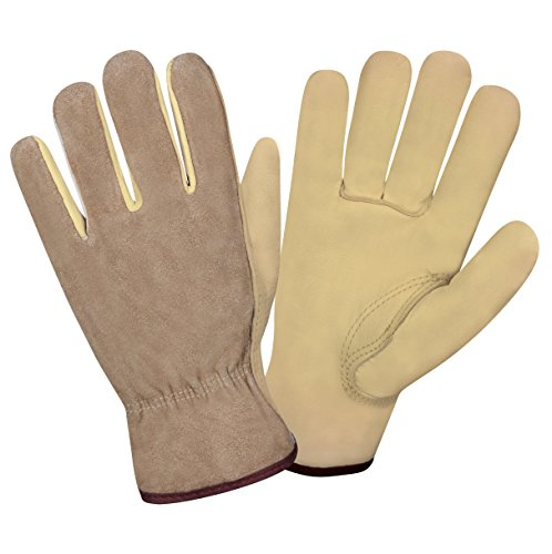 (Cordova Safety Products 8232XL Select Grain Cowhide Driver Gloves with a Golden Brown Split Cowhide Back, X-Large)