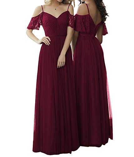 59c92b217e ... Chiffon Long Off Shoulder Bridesmaid Dresses Lace Straps Prom Evening Gowns  Burgundy US20W. ; 