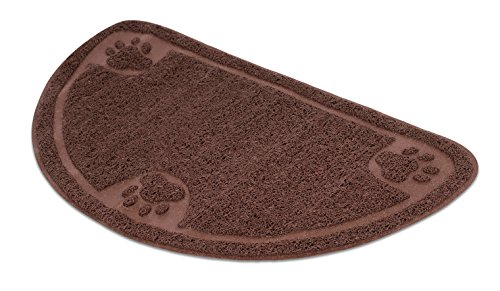 Internet's Best Cat Litter Mat | 23 x 14.5 | Semi-Circle | Kitty Litter Mat and Trap | Crystal Catcher Mat and Scatter Control | Soft Paw Touch | Brown