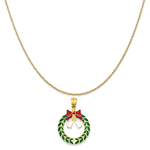 Enameled Christmas Wreath (14k Yellow Gold Enameled Christmas Wreath Pendant on 14K Yellow Gold Rope Chain Necklace, 20