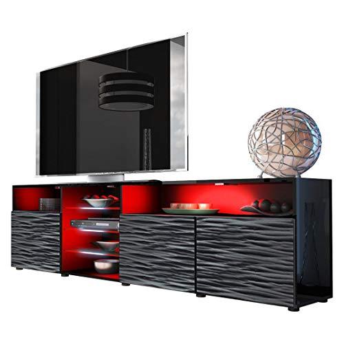 Meble Furniture & Rugs TV Stand Roma Matte Body High Gloss Doors Modern TV Stand LED (Black/WavyBlack)