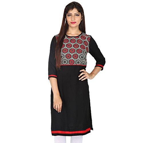 Chichi Indian Women Kurta Kurti 3/4 Sleeve X-Large Size Plain with Neck Printed Straight Black Top by CHI