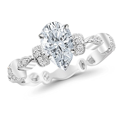 Chandni Jewels 0.48 Cttw Platinum Pear Cut Petite Modern Diamond Engagement Ring with a 0.3 Carat H-I Color SI1-SI2 Clarity Center ()