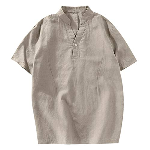 Men's Summer Fashion Pure Cotton and Hemp Short Sleeve Comfortable Top Khaki