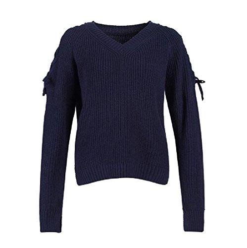 Elegante Vestibilità Outwear Femminile Angelspace Maglione Pullover Solido Morbida Blu Navy Giacca 4qwOEr4