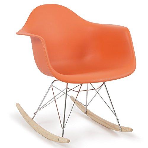 Belleze Eames Rocker RAR Style Seat Armrest Chair Molded Plastic Retro Accent Lounge Cradle, Orange - Wooden Retro Rocker