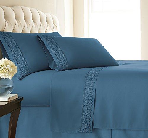 Southshore Fine Linens - Vilano Lace - 4 Piece - Extra Deep Pocket Sheet Set , QUEEN , Coronet Blue