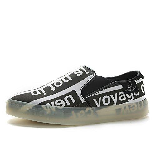 Herren Freizeitschuhe Dress Jugendliche Outdoor Mode Canvas Schuhe Rutschen Schwarze Persönlichkeit Schwarz